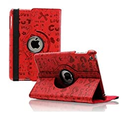 RKA iPad 4 3 2 Magnetic Cute Cartoon Leather Case Smart Cover Red