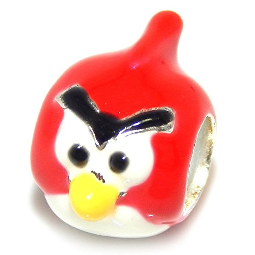 925 Solid Sterling Silver Red and White Angry Bird Charm Bead
