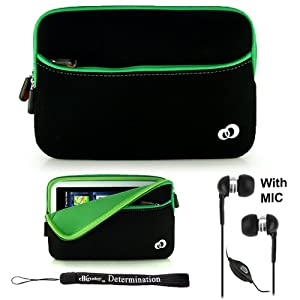 "Green w/ Black Slim Design Soft Neoprene Carrying Cover Case with extra pocket for Pandigital Novel 7"" Color Multimedia White eReader + Indlues a 4-Inch Determination Hand Strap + Includes a Crystal Clear HD Noise Filter Handsfree with Mic and Mute Button"