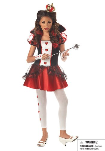 California Costumes Tween Queen Of Hearts Costume,Red/Black/White,X-Large