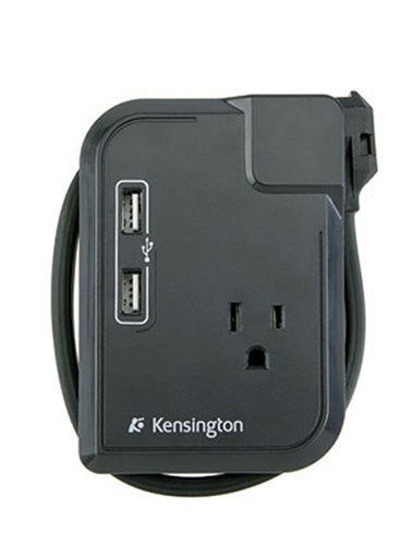 Kensington K38032US Portable Power Outlet with 3 Wall Outlets and 2 USB Power Ports
