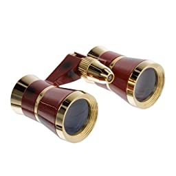 Pro-Optic 3x 25 Focusing Opera Glass Binocular,light, Burgundy with Gold Trim---Good for Ball Games