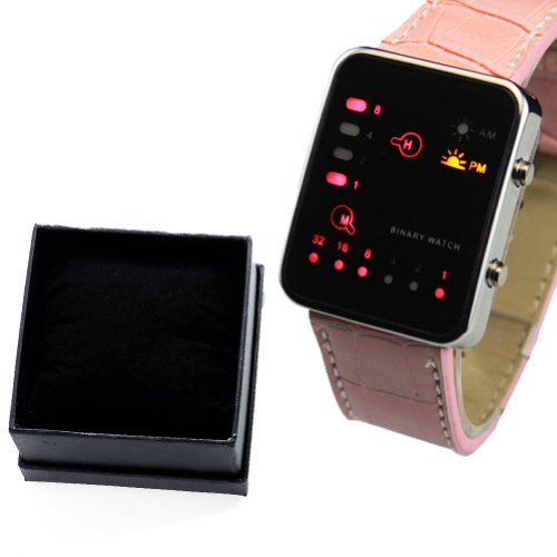 WLM Unisex Mens Womens Luxury Style Sport LED Light Digital Date Wrist Watch Pink With Box