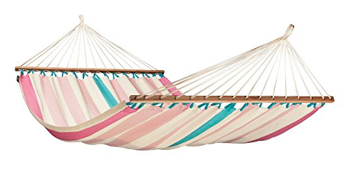 LA SIESTA Colada High Comfort and Rip Proof Double Hammock with Spreader Bars, Lychee