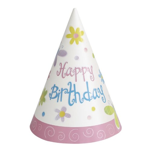 Cute Birthday Party Cone Hats 8 Pack - 1