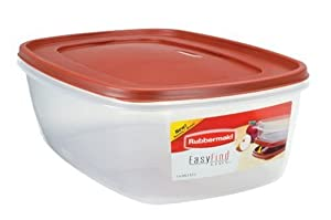 Rubbermaid Easy Find Lid Rectangle Food Storage Container, 40-Cup, Red