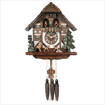 River City Clocks MD432-13 One Day Musical Cuckoo Clock Cottage with Jumping Deer And Moving Waterwheel, 13-Inch Tall