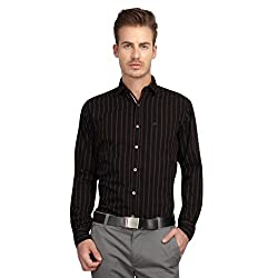 British Line Black Color Slim Fit striped shirt