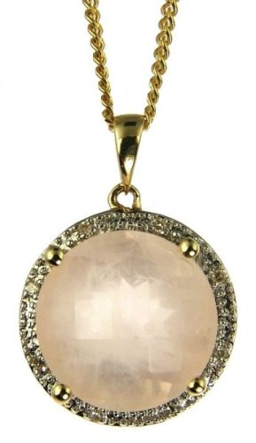 9ct Yellow Gold Ladies' Rose Quartz and Diamond Set Pendant with 46cm Curb Chain