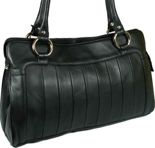 New ladies gorgeous Visconti Black leather classic design shoulder handbag style 18828