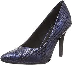 Marco Tozzi  22416, Chaussures à talons - Avant du pieds couvert femmes - Bleu - Blau (Navy Structure 801), Taille 38 EU