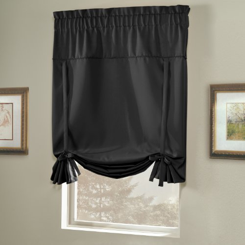 united curtain blackstone blackout tie up shade 40 by 63 inch black new ebay. Black Bedroom Furniture Sets. Home Design Ideas