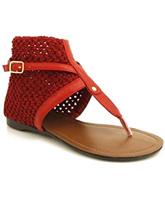 QUPID Agency-187 Stretch Crochet Ankle Thong Sandals RED (7)