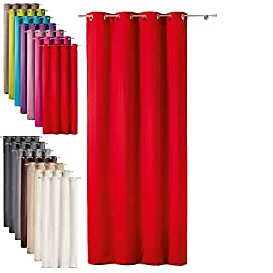 One Extra Long Eyelet Curtain Panels Red Kitchen Home