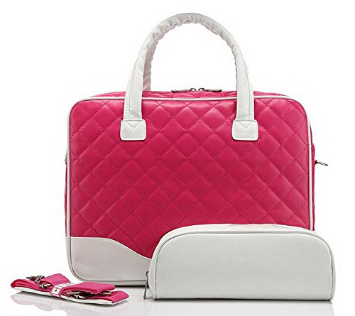 おしゃれ かわいい 2way 14インチ 対応 PC パソコン キャリー バッグ 手提げ ショルダー 女性 レディース 3点セット 並行輸入品 (ピンク×ホワイト)