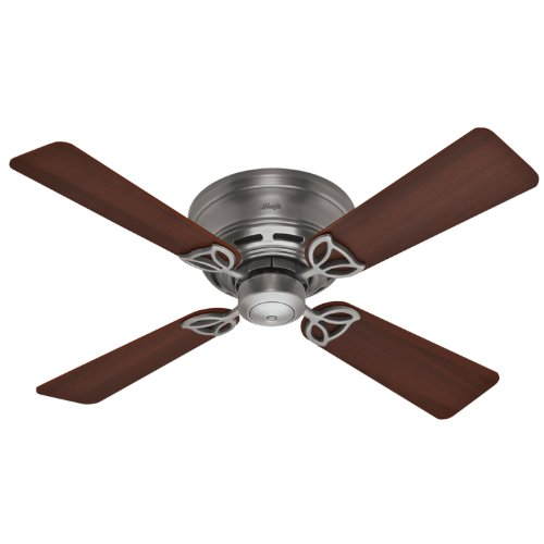 Hunter 23871 42-Inch Low Profile III 4 Walnut/Chestnut Blades Ceiling Fan (Antique-Pewter)