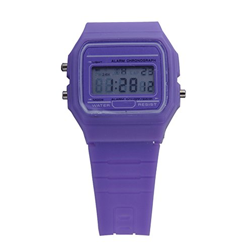 Ocaler® Digital Rubber Silicone Wrist Watch Multi Candy Color Alarm Stopwatch (Purple)