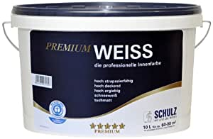 schulz premium weiss wandfarbe innenfarbe 10l wei. Black Bedroom Furniture Sets. Home Design Ideas