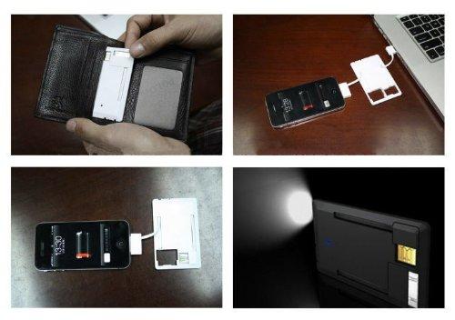 Batteria di backup per iPhone e iPod luminoso (nero). Consente il trasferimento dei dati e di carica in caso di emergenza