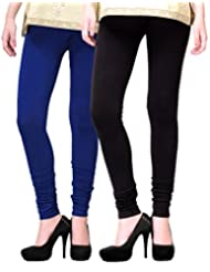 2Day Women's Cotton Churidaar Legging Black/Royal Blue (Pack Of 2)