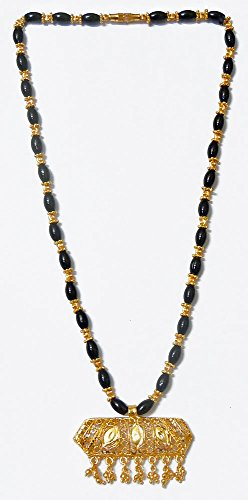 DollsofIndia Black Bead And Gold Plated Mangalsutra With Pendant - Metal And Stone - Black - B00RTIKAT2