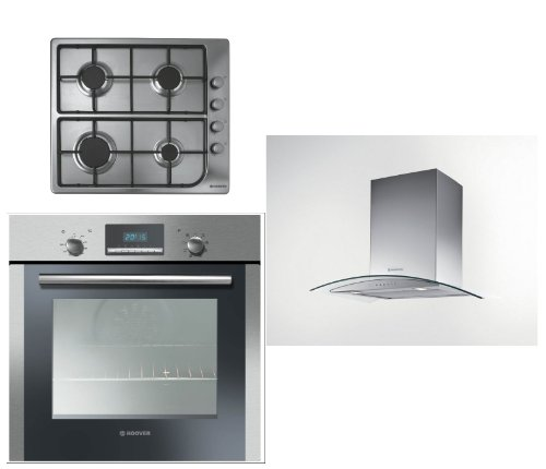 Hoover Built-in Multi Function Oven HOC709/6X, 4 Burner Gas Hob HGL64SC and HGM61X 60CM Glass Chimney Hood
