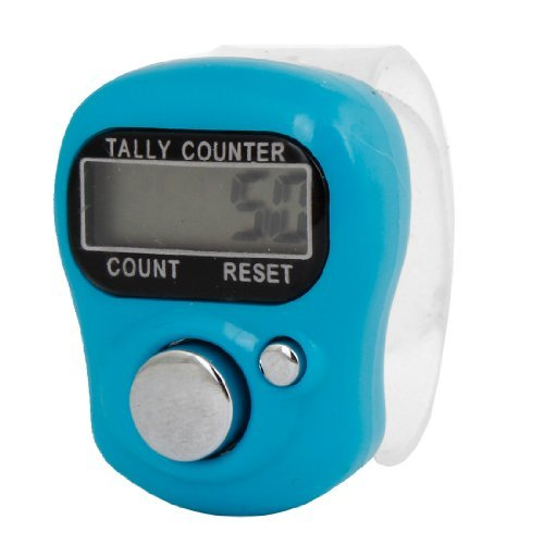 Water & Wood Tally Counter 5-Digit LCD Electronic Digital Finger Counter Light Blue