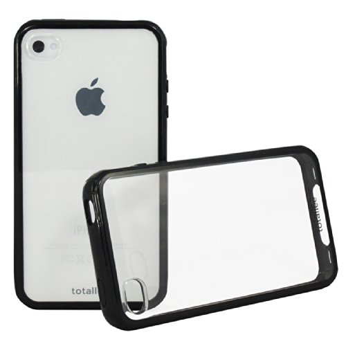 iPhone 4S Case, Totallee Clearback Hybrid iPhone 4 / 4S Cover Scratch Resistant Clear Hard Back with Bumper Shock Absorption (Black) (Iphone 4s Bumper Black compare prices)
