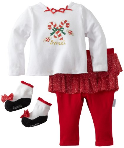Vitamins Baby-Girls Newborn 3 Piece Skegging Set Sweet Candy Canes, Red, 9 Months
