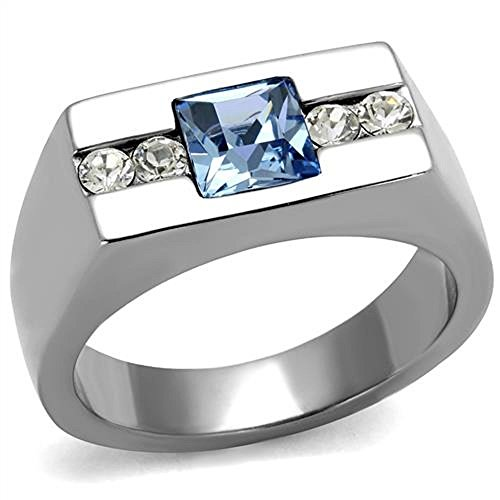 Men's Princess Cut Blue Montana & Clear Cz Silver Stainless Steel Ring Band Size 8-13 (9) (Stainless Steel Mens Rings Size 8 compare prices)