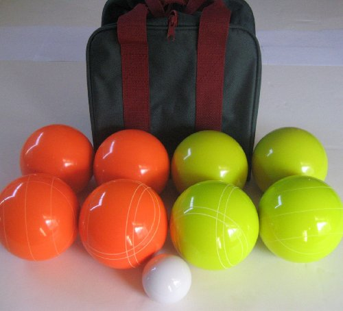 Premium Quality EPCO Tournament Bocce Set, Orange and Yellow Bocce Balls - 11...