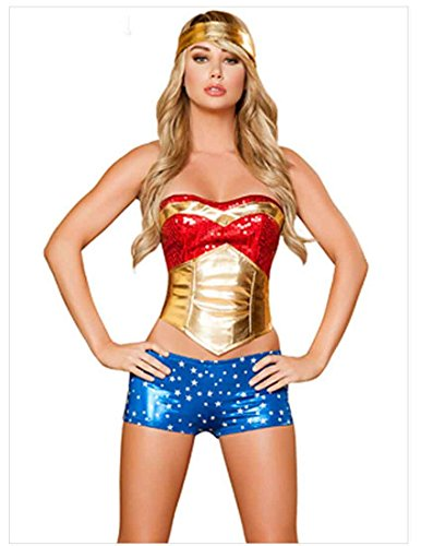 MFrannie Women's Halloween Cosplay Superwoman Corset Three Piece Costume Suit