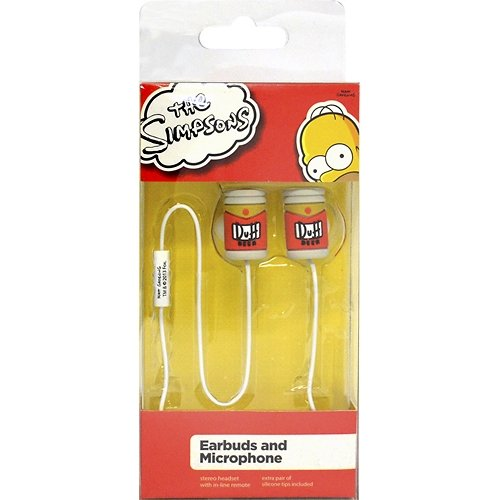 The Simpsons Duff Beer Can 3.5mm Earbud Headphones with Multifunction Remote Control