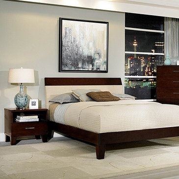 Homelegance Claran 2 Piece Platform Bedroom Set in Dark Cherry