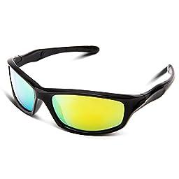 RIVBOS RBK003 Rubber Flexible Kids Polarized Sunglasses Age 3-10 (Black Coating Lens)