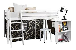 Cabin Bed with Desk in White & Mattress in Army Design , WHITE+MATTRESS
