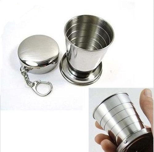 Ezyoutdoor 2pcs Collapsible Cup Stainless Steel Portable Folding Metal Telescopic Keychain Cups Mug for Excursion Outdoor Travel Camping Picnic Hiking Backpacking Bivouac 240ml L