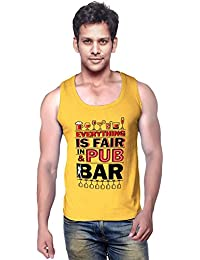 Wear Your Opinion Graphic Print Men's Cotton Sleeveless T-Shirt, PUB AND BAR