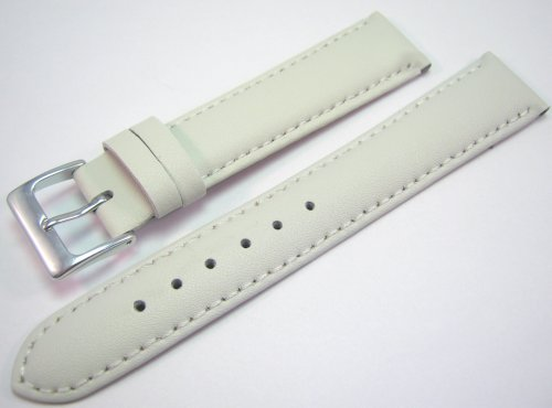 White Padded Leather Watch Strap Band With A Stitched Edging And Nubuck Lining 18mm