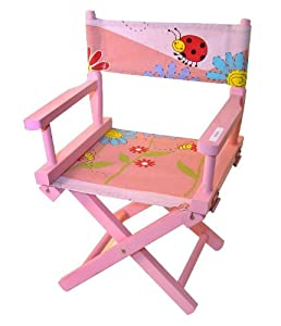 Folding Wooden Kids Directors Chair Pink DC203 Kitchen Am