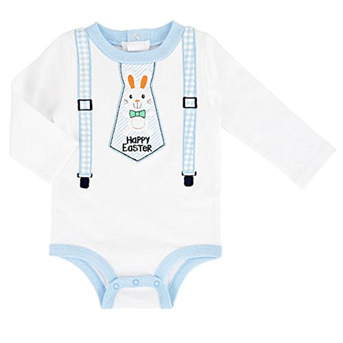 Embroidered Boys Baby Happy Easter Bunny Tie Bodysuit Dress Up Outfit