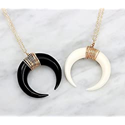 Double Horn Necklace, Moon Necklace, Tusk Necklace - Large - in 14K Gold fill, 925 Sterling Silver or Rose Gold Filled