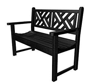 Polywood Outdoor Furniture Chippendale 48 Inch Bench Black Recycled Plastic Materials