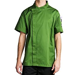 Chef Revival J020MT-2X Crew Fresh Short Sleeve Snap Jacket with Hidden Snap Button, 2X-Large, Mint