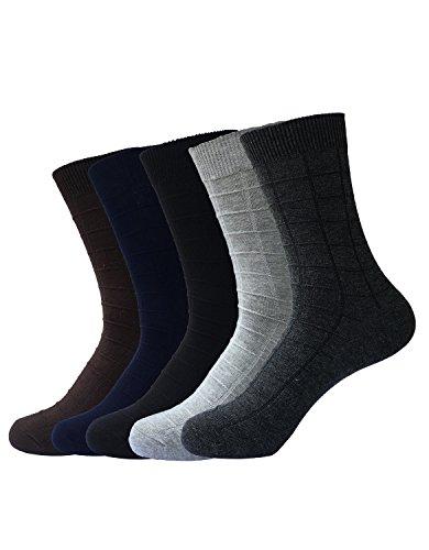 Zando da uomo formali Gentleman Design Casual in cotone a costine girocollo Dress alta calze 5 Pairs Taglia Unica: 27 cm- 29 cm(Misura scarpa: 44-48)