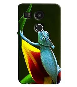 Omnam Lizard In Blue Printed Designer Back Cover Case For Google Nexus 5 X