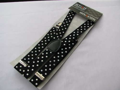 Pair Fashion Braces [suspenders] Black with white spots. Adjustable with metal adjusters and snap fasteners .