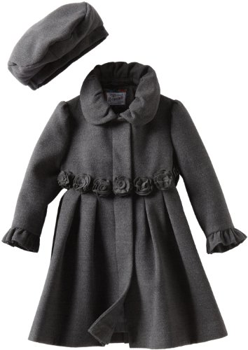 Rothschild Girls 2-6X Toddler Dress Coat With Rosettes, Charcoal, 3T