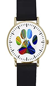 COLORFUL FEET Custom Design Gold Dial and Black Leather Band Quartz Movement Watch By-Ccilu