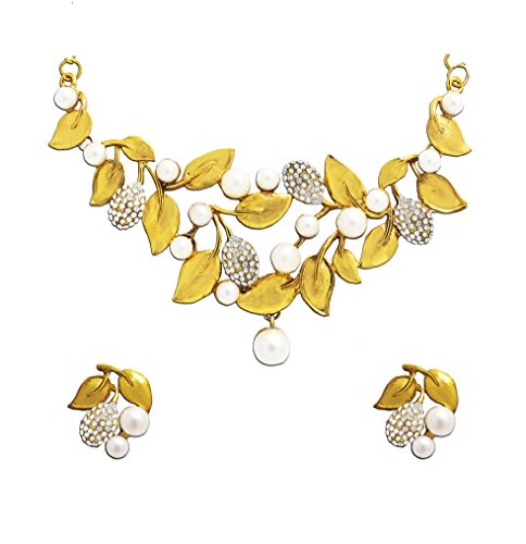 Zaveri Pearls Gold Metal Choker Necklace With Earrings Set For Women -Zpfk4503